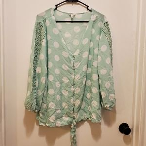 Mint and White Dot Tie Front Top